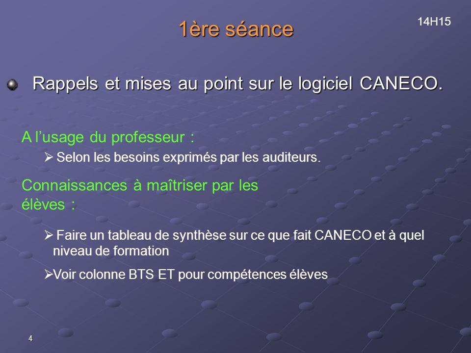 1ère séance Rappels et mises au point sur le logiciel CANECO.