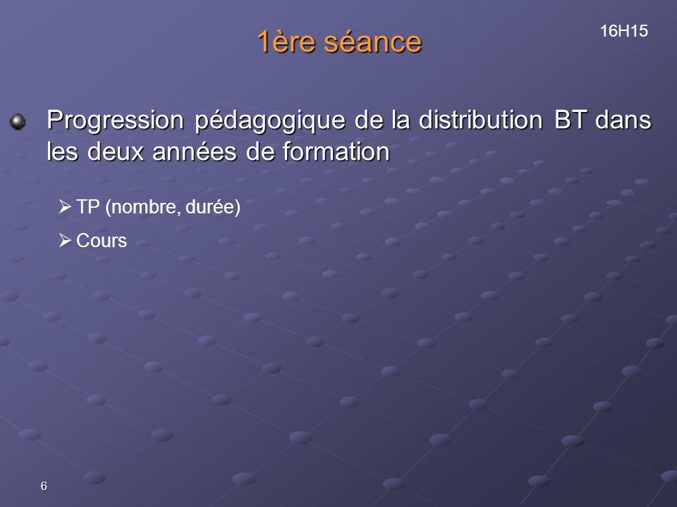 1ère séance Progression pédagogique de la distribution BT dans les deux années de formation. 16H15.