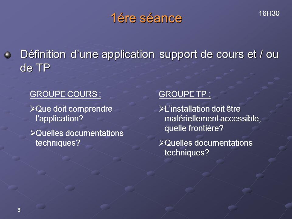 1ére séance Définition d'une application support de cours et / ou de TP. 16H30. GROUPE COURS : Que doit comprendre l'application