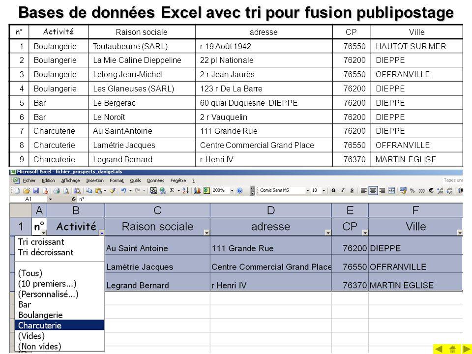 Bases de données Excel avec tri pour fusion publipostage