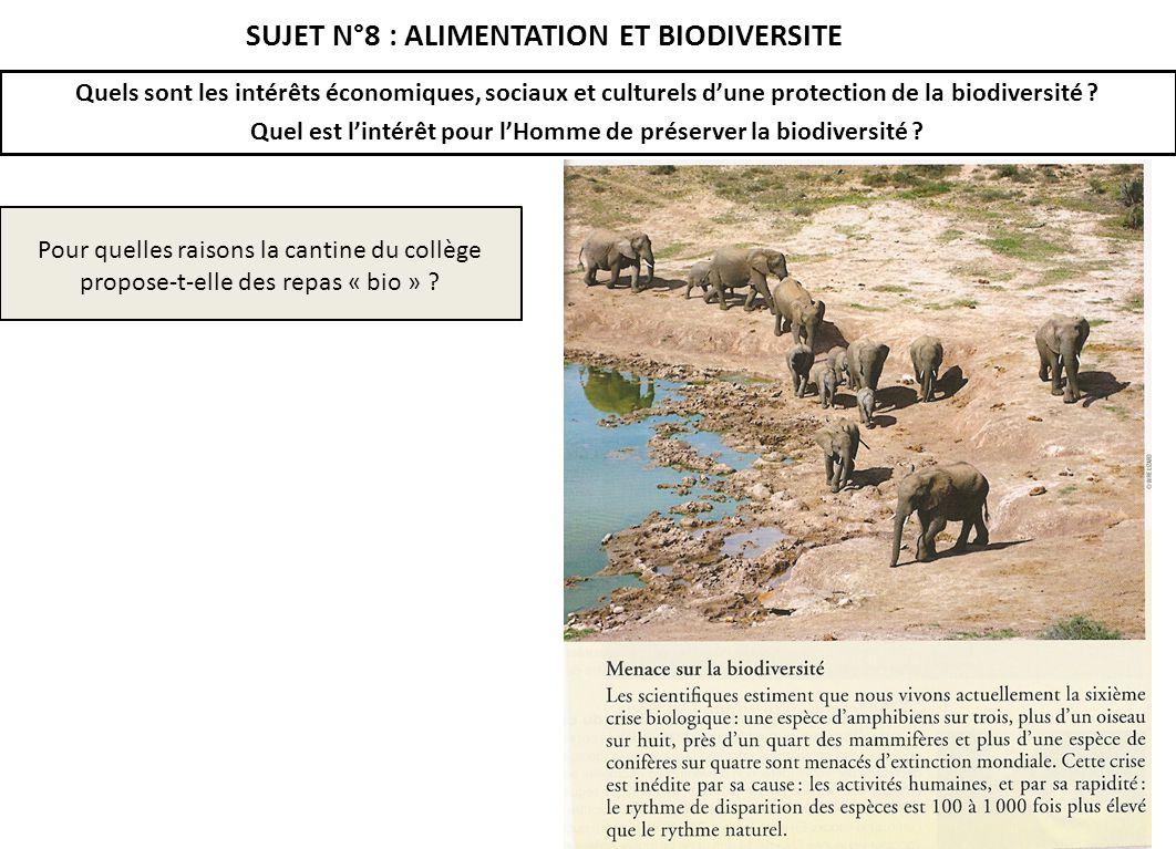 SUJET N°8 : ALIMENTATION ET BIODIVERSITE