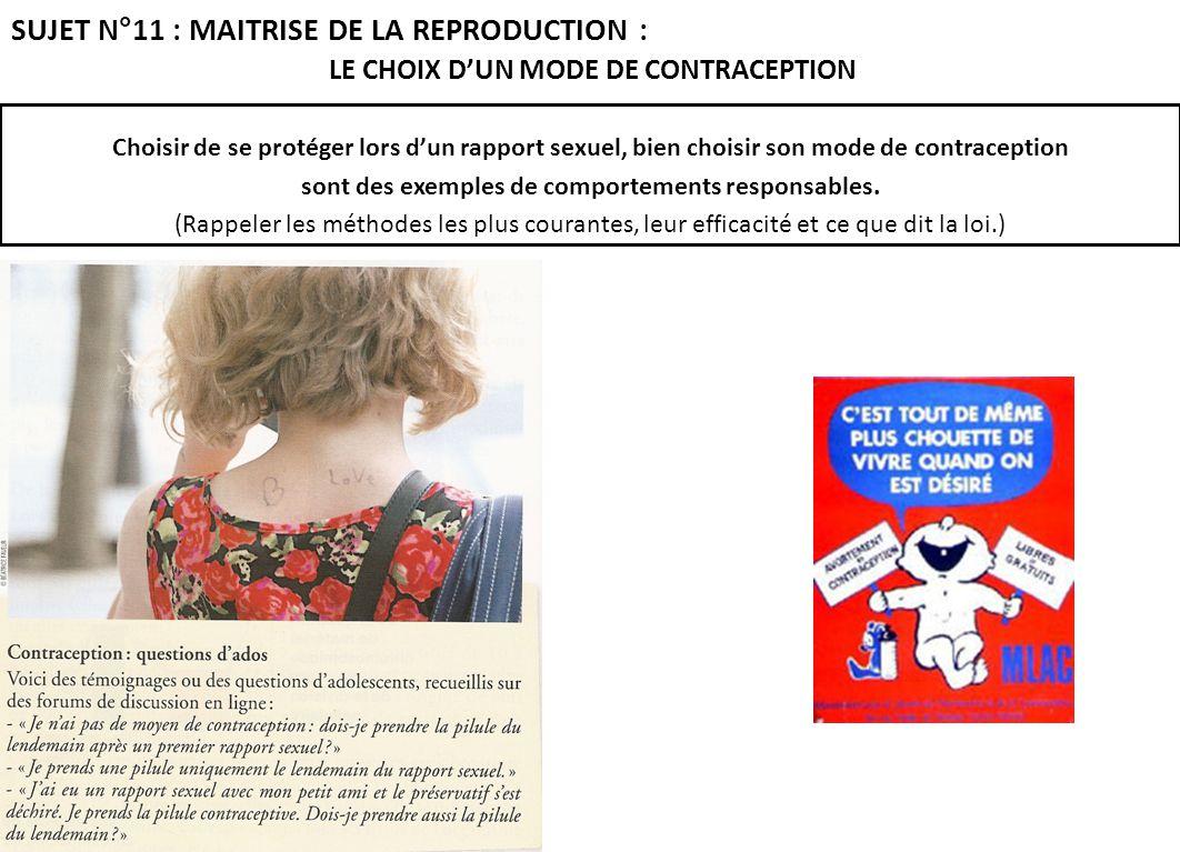 LE CHOIX D'UN MODE DE CONTRACEPTION