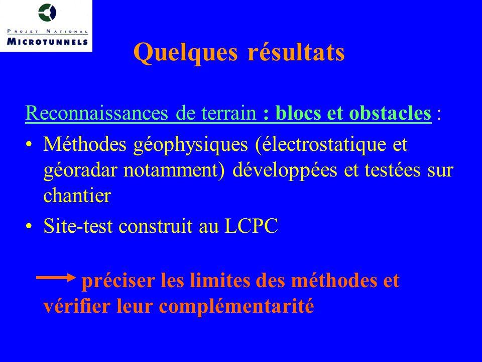 Quelques résultats Reconnaissances de terrain : blocs et obstacles :