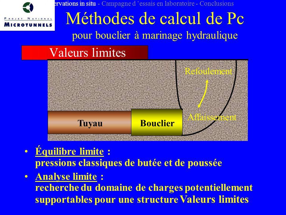 Méthodes de calcul de Pc pour bouclier à marinage hydraulique