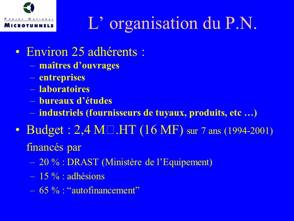 L' organisation du P.N. Environ 25 adhérents :
