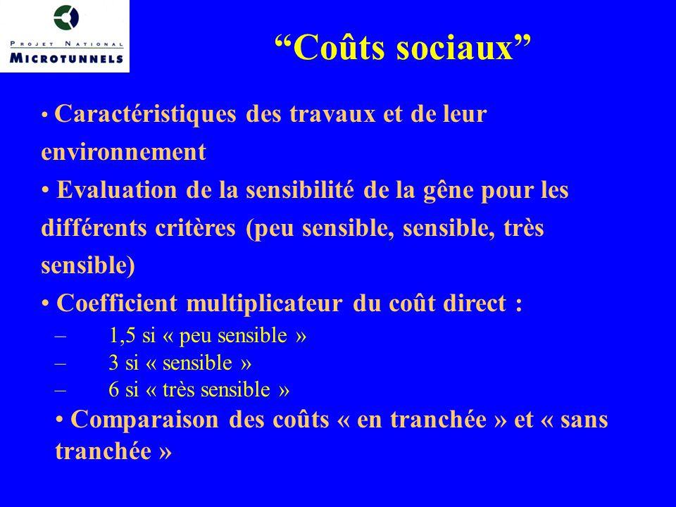 Coûts sociaux Caractéristiques des travaux et de leur environnement.