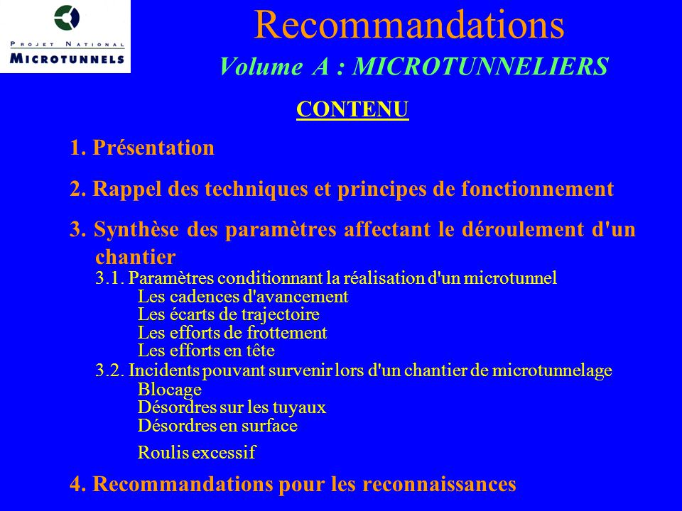 Recommandations Volume A : MICROTUNNELIERS