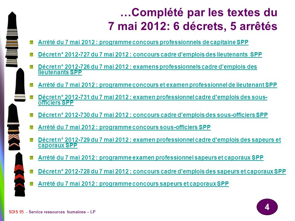 …Complété par les textes du 7 mai 2012: 6 décrets, 5 arrêtés