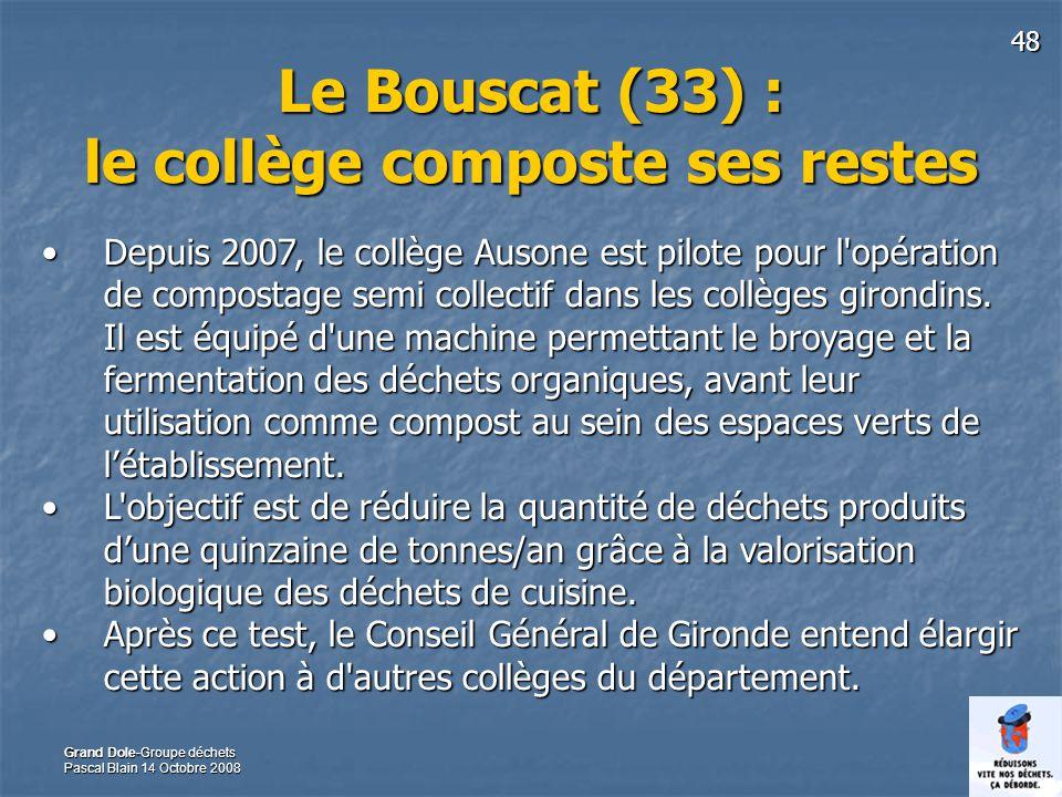 Le Bouscat (33) : le collège composte ses restes