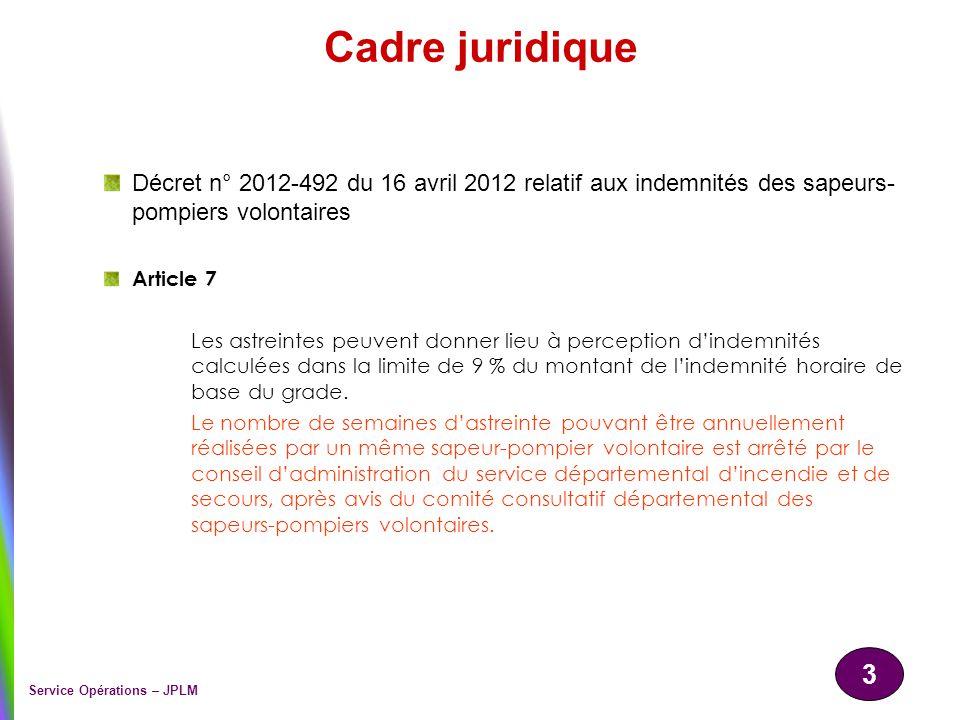 Cadre juridique Décret n° 2012-492 du 16 avril 2012 relatif aux indemnités des sapeurs-pompiers volontaires.