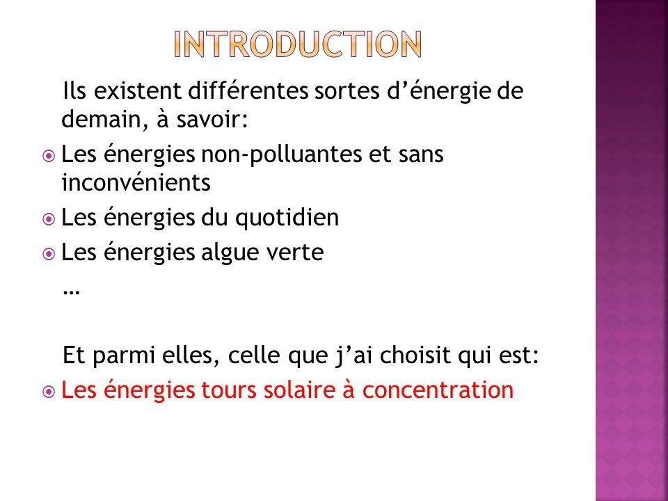 Introduction Ils existent différentes sortes d'énergie de demain, à savoir: Les énergies non-polluantes et sans inconvénients.