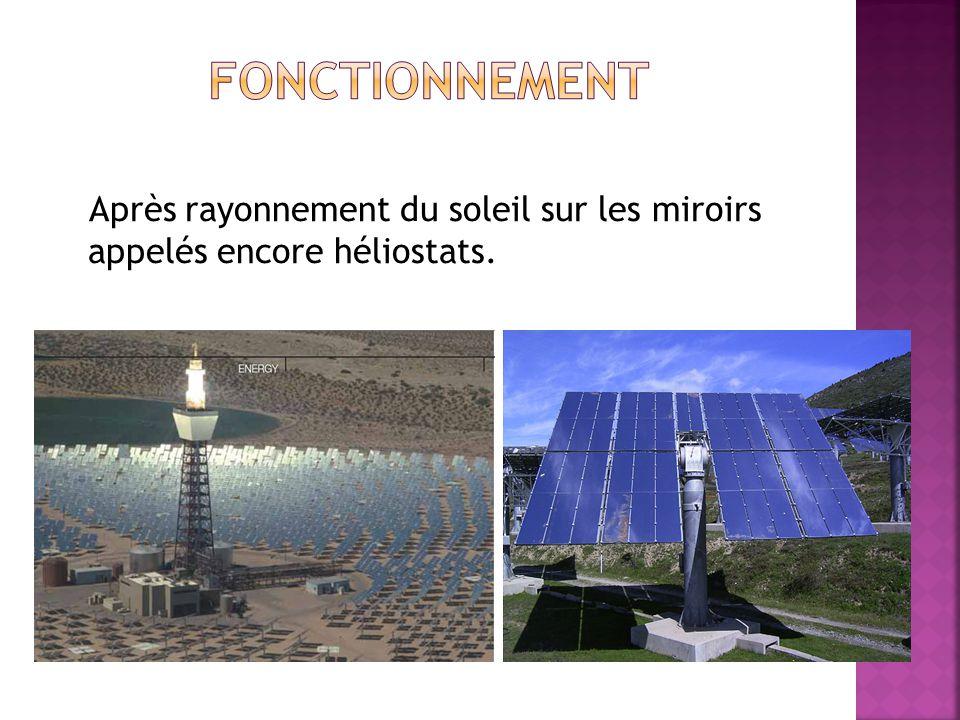 Fonctionnement Après rayonnement du soleil sur les miroirs appelés encore héliostats.