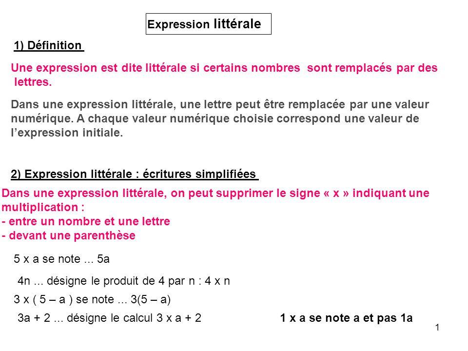 Expression littérale 1) Définition. Une expression est dite littérale si certains nombres sont remplacés par des.