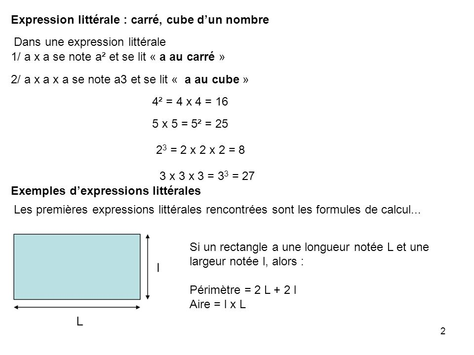 Expression littérale : carré, cube d'un nombre