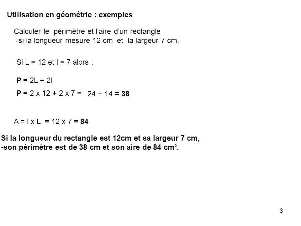 Utilisation en géométrie : exemples