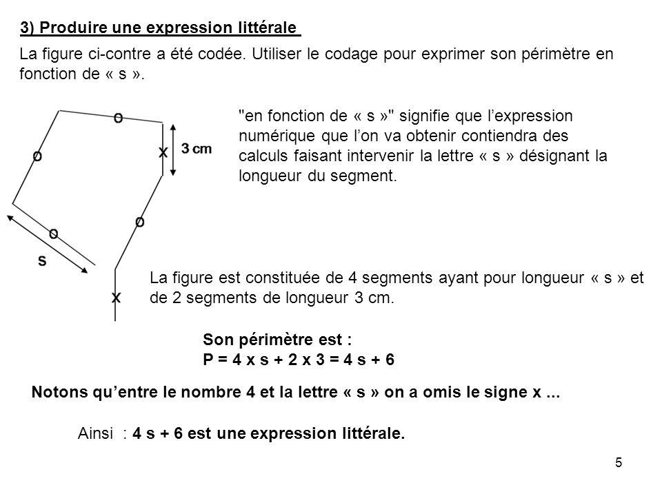 3) Produire une expression littérale