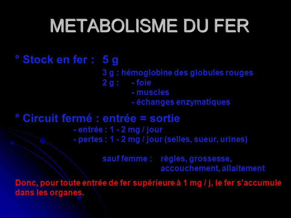 METABOLISME DU FER ° Stock en fer : 5 g