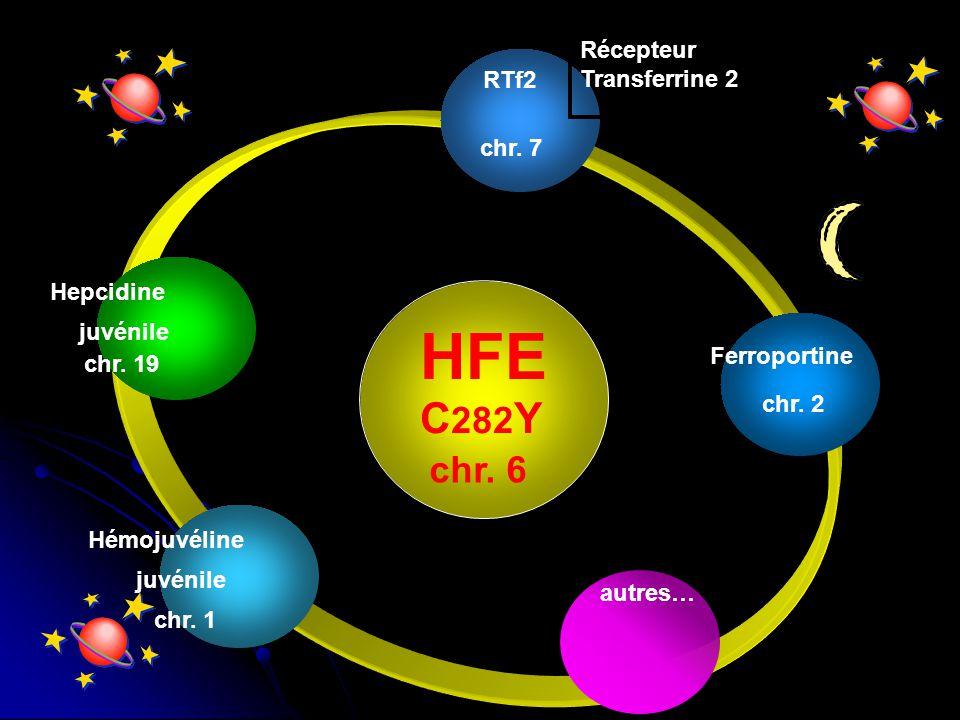 HFE C282Y chr. 6 Récepteur Transferrine 2 RTf2 chr. 7 Hepcidine