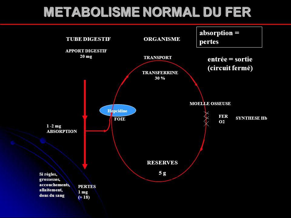 METABOLISME NORMAL DU FER