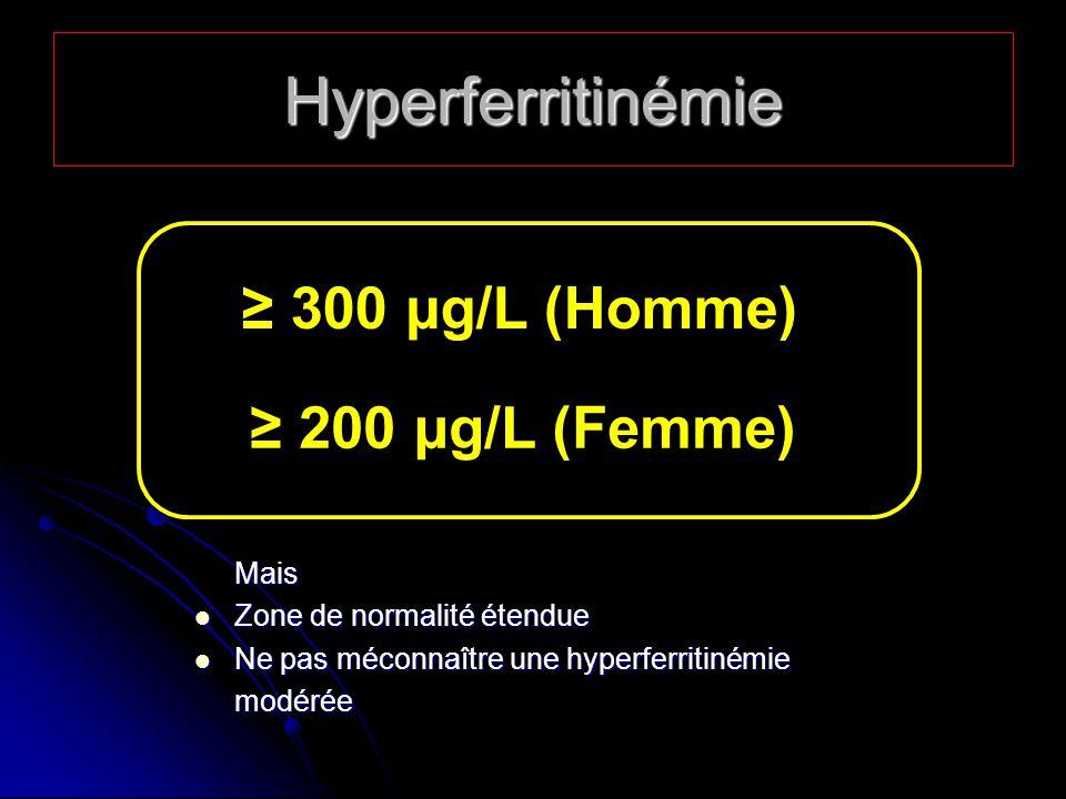 Hyperferritinémie ≥ 300 µg/L (Homme) ≥ 200 µg/L (Femme) Mais