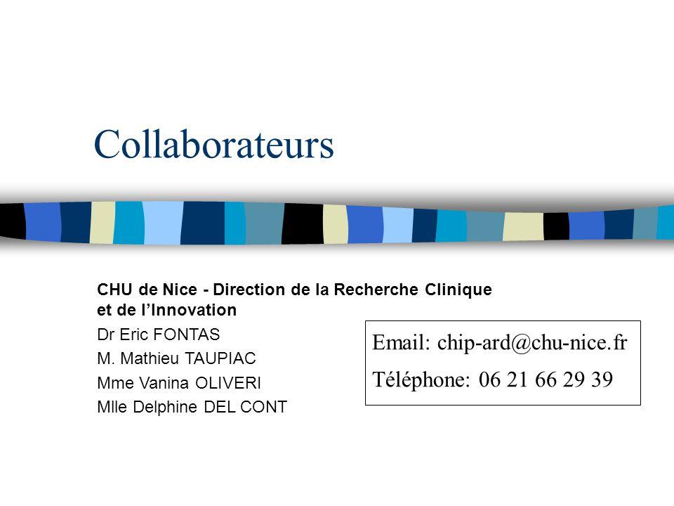 Collaborateurs Email: chip-ard@chu-nice.fr Téléphone: 06 21 66 29 39
