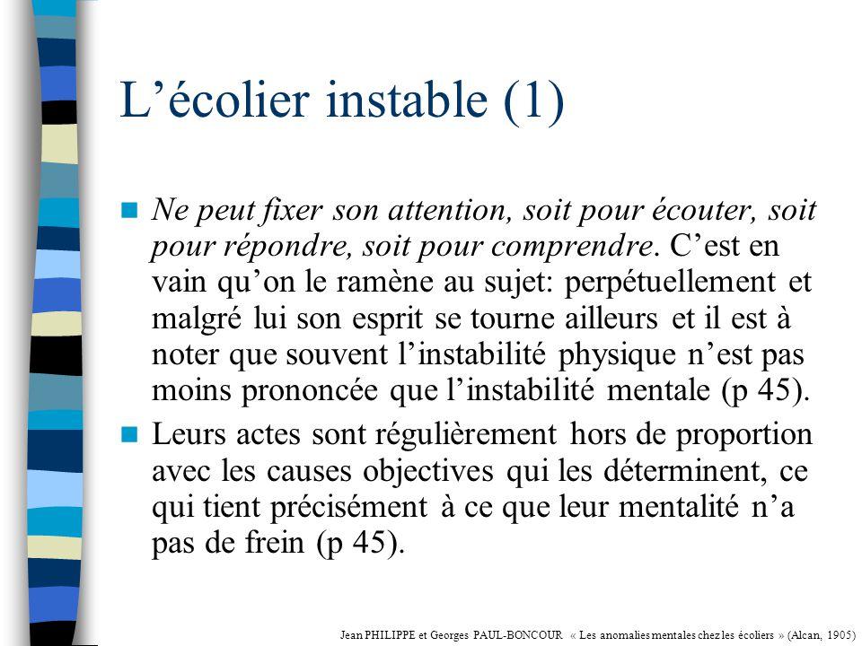 L'écolier instable (1)