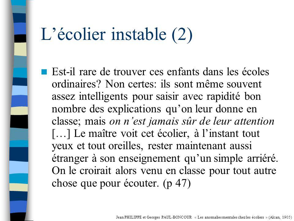 L'écolier instable (2)