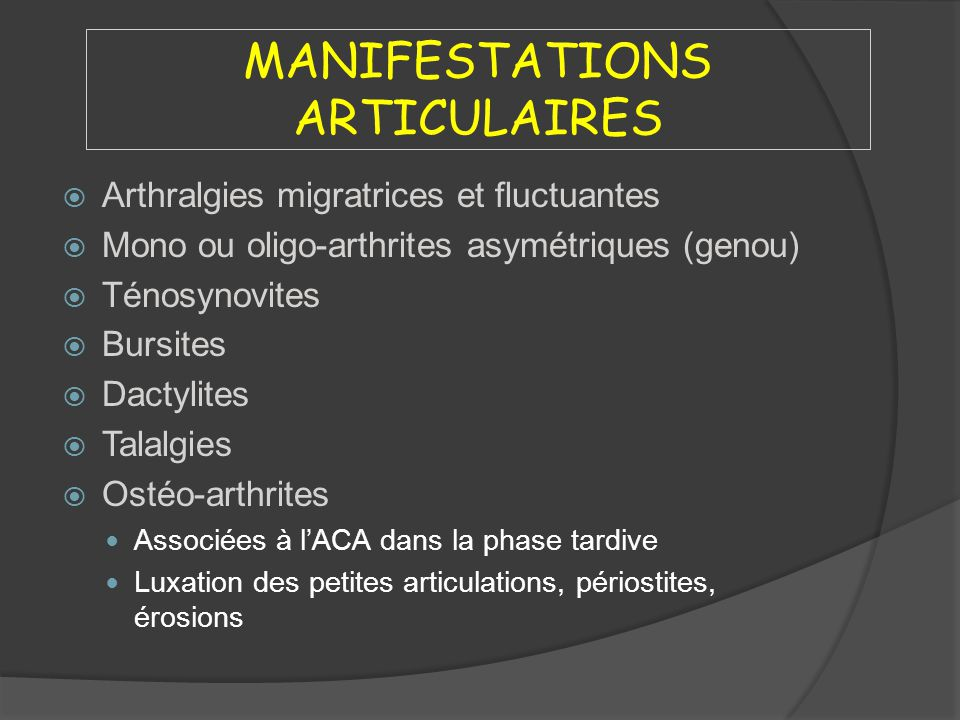 MANIFESTATIONS ARTICULAIRES