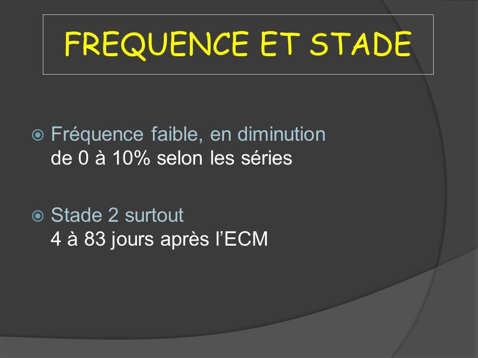 FREQUENCE ET STADE Fréquence faible, en diminution de 0 à 10% selon les séries.