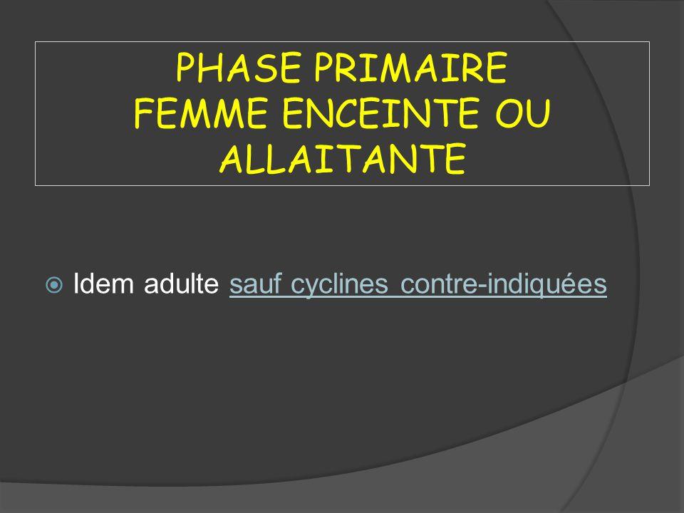 PHASE PRIMAIRE FEMME ENCEINTE OU ALLAITANTE