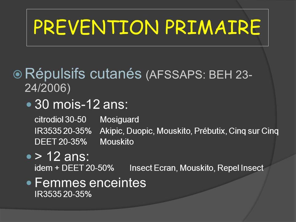 PREVENTION PRIMAIRE Répulsifs cutanés (AFSSAPS: BEH 23-24/2006)