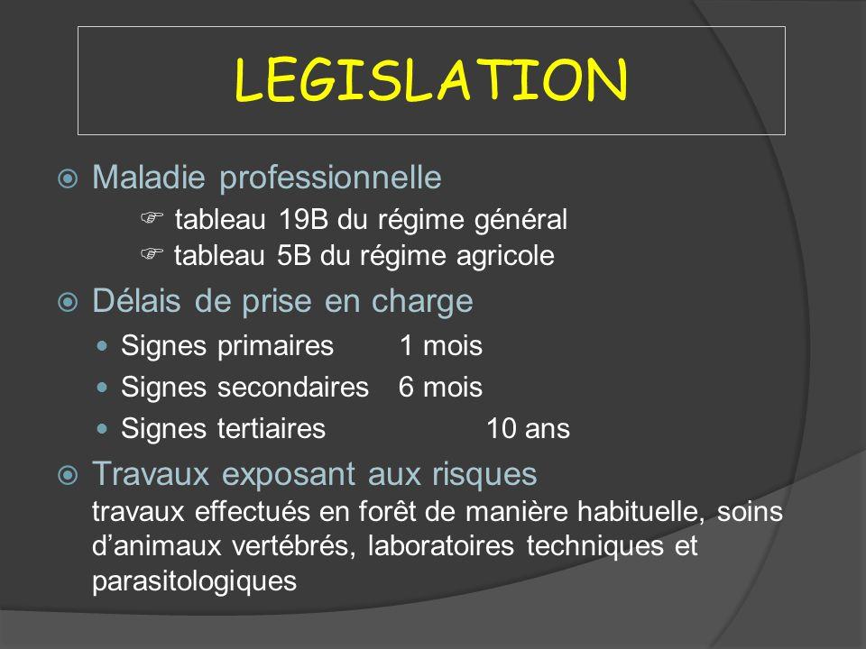 LEGISLATION Maladie professionnelle  tableau 19B du régime général  tableau 5B du régime agricole.