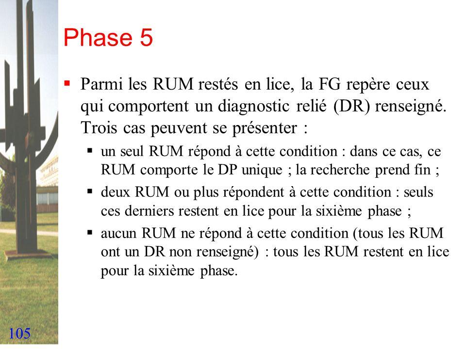 Phase 5 Parmi les RUM restés en lice, la FG repère ceux qui comportent un diagnostic relié (DR) renseigné. Trois cas peuvent se présenter :
