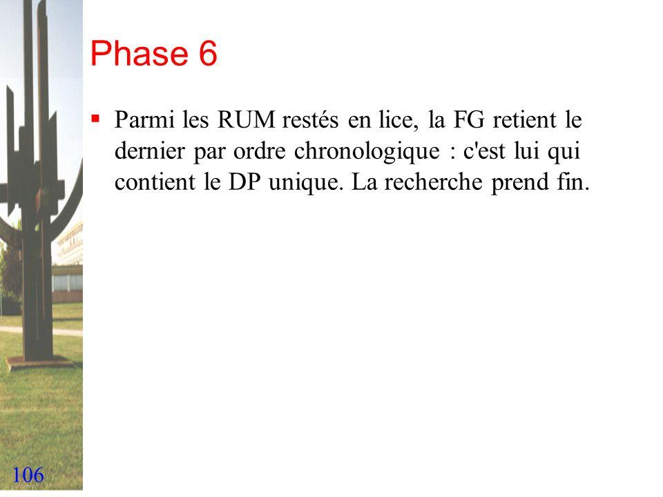 Phase 6 Parmi les RUM restés en lice, la FG retient le dernier par ordre chronologique : c est lui qui contient le DP unique.