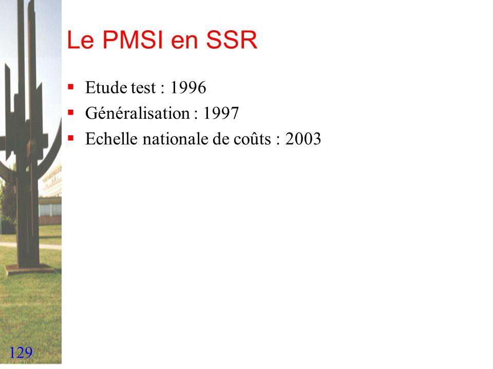 Le PMSI en SSR Etude test : 1996 Généralisation : 1997