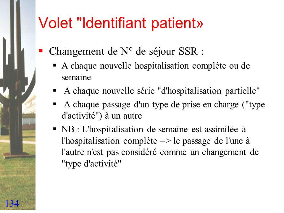 Volet Identifiant patient»