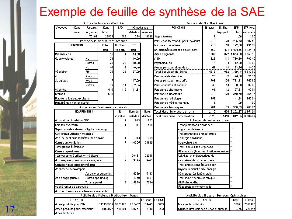 Exemple de feuille de synthèse de la SAE