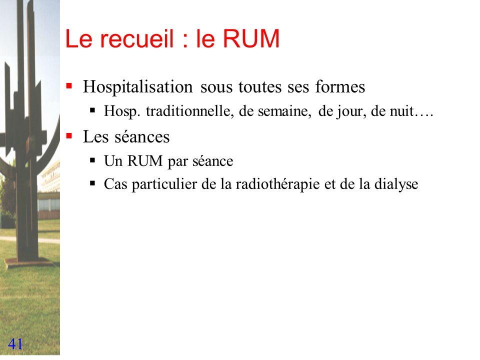 Le recueil : le RUM Hospitalisation sous toutes ses formes Les séances