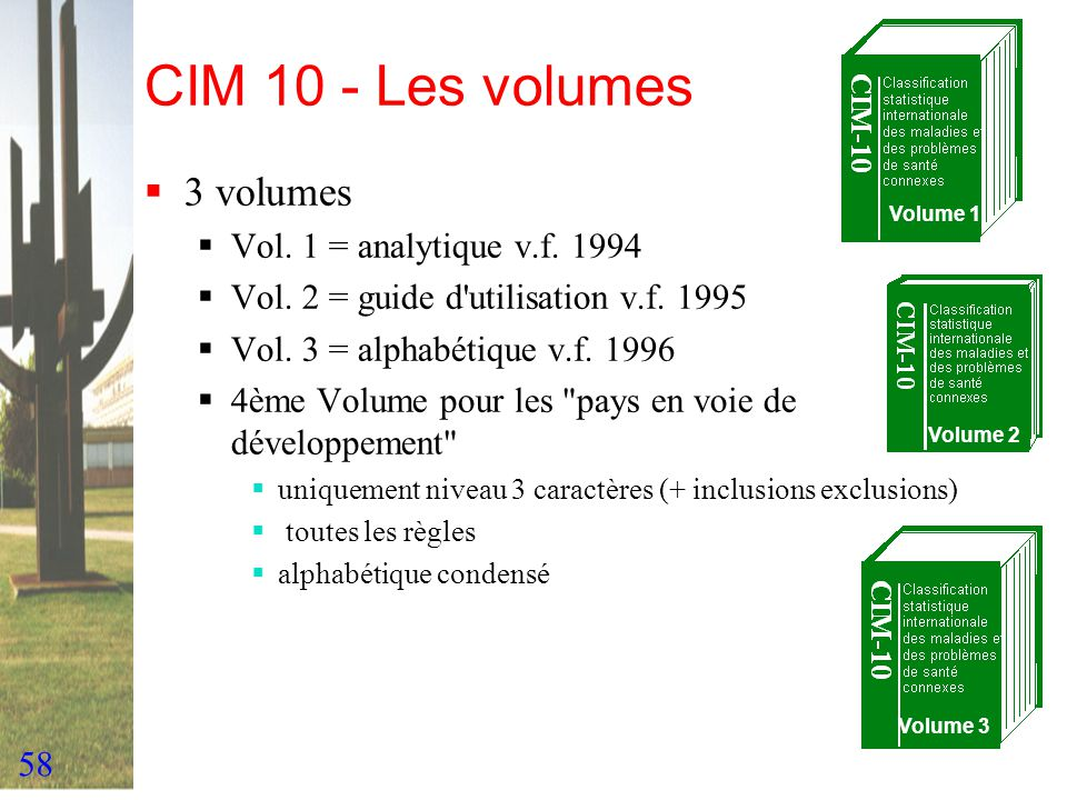 CIM 10 - Les volumes 3 volumes Vol. 1 = analytique v.f. 1994