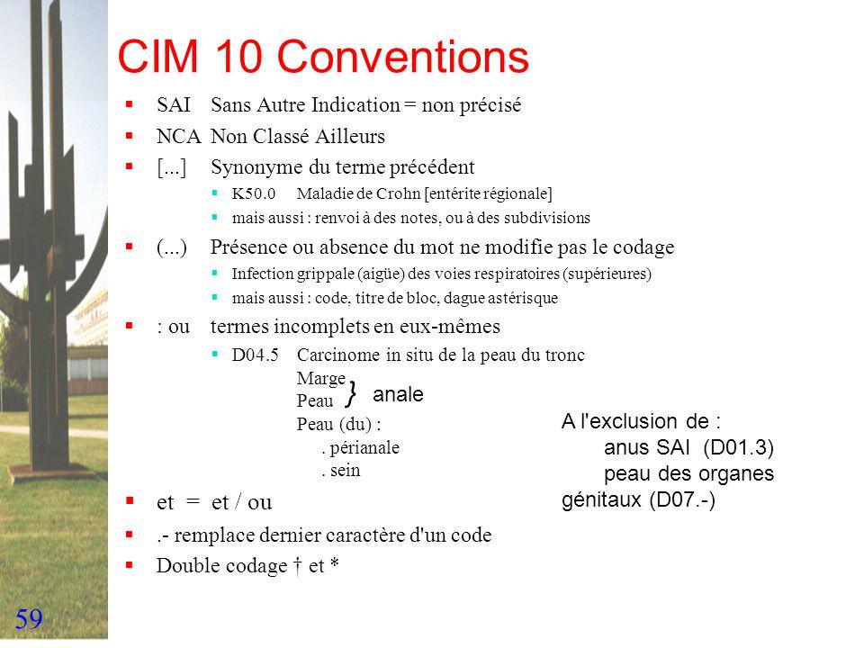 CIM 10 Conventions } anale et = et / ou