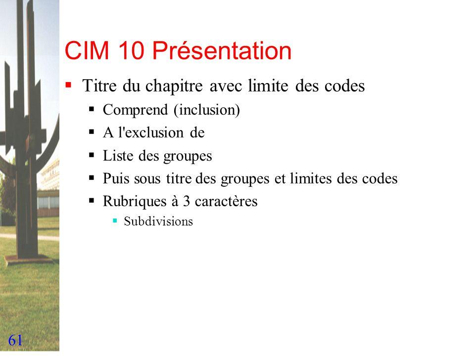 CIM 10 Présentation Titre du chapitre avec limite des codes