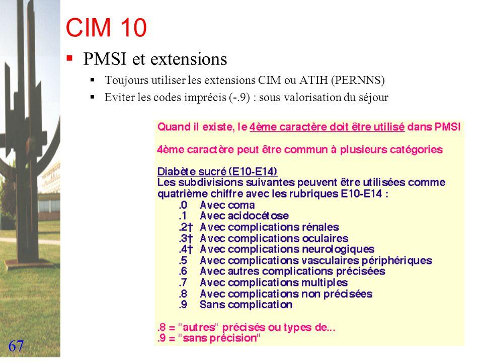 CIM 10 PMSI et extensions.