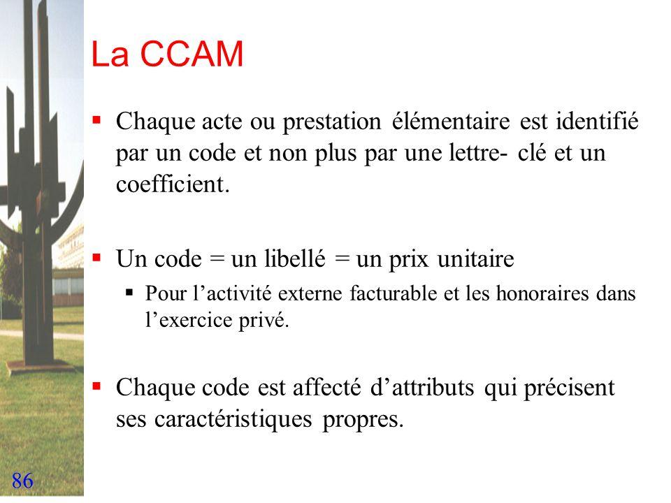 La CCAM Chaque acte ou prestation élémentaire est identifié par un code et non plus par une lettre- clé et un coefficient.