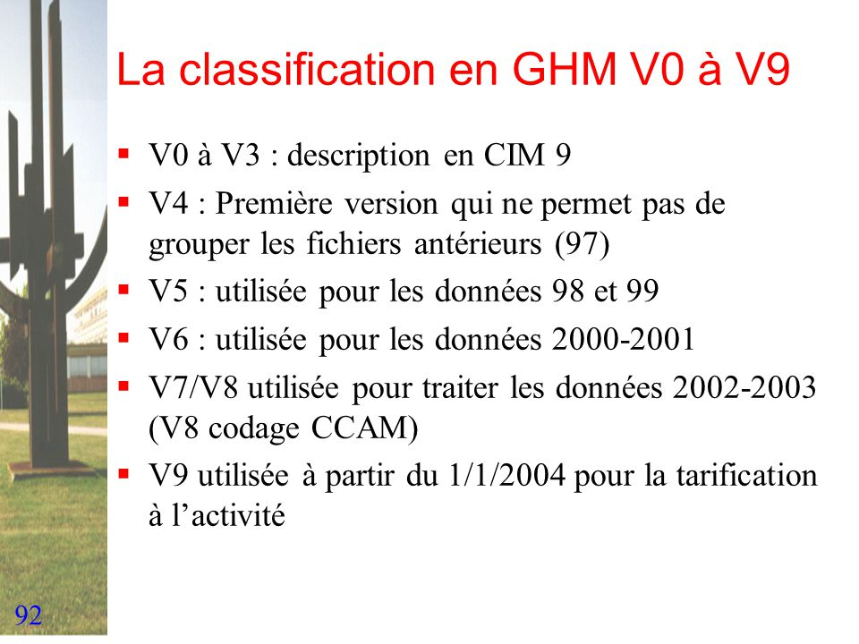 La classification en GHM V0 à V9