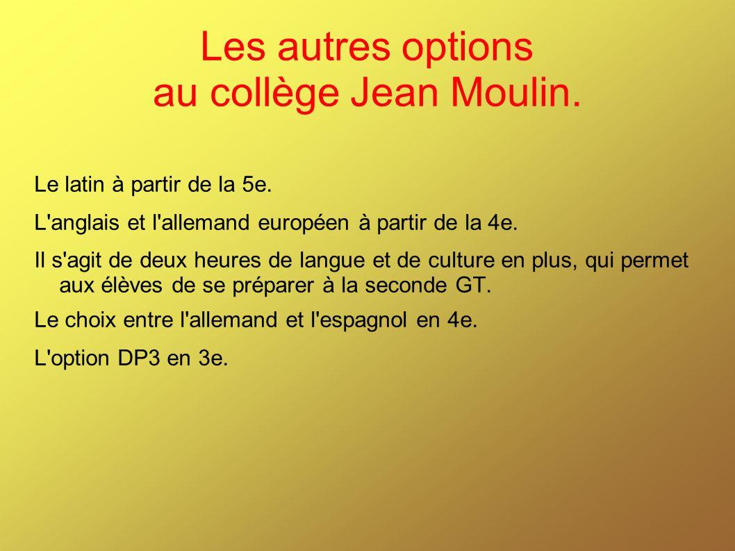Les autres options au collège Jean Moulin.