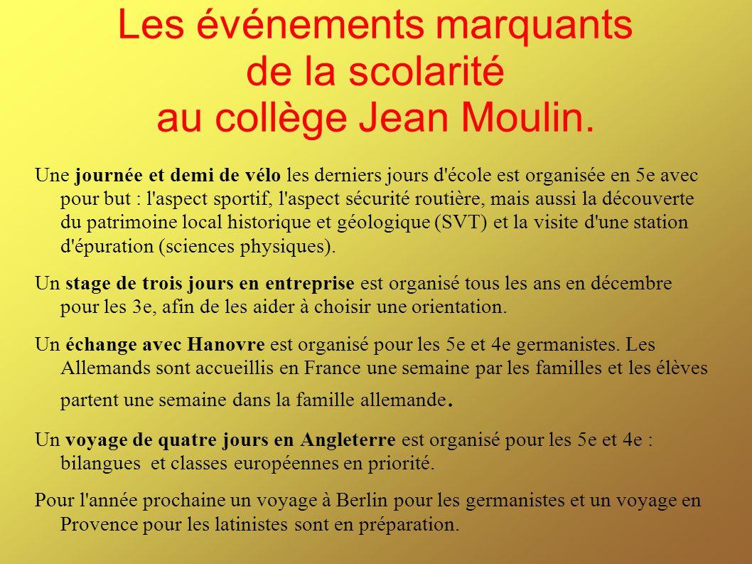 Les événements marquants de la scolarité au collège Jean Moulin.
