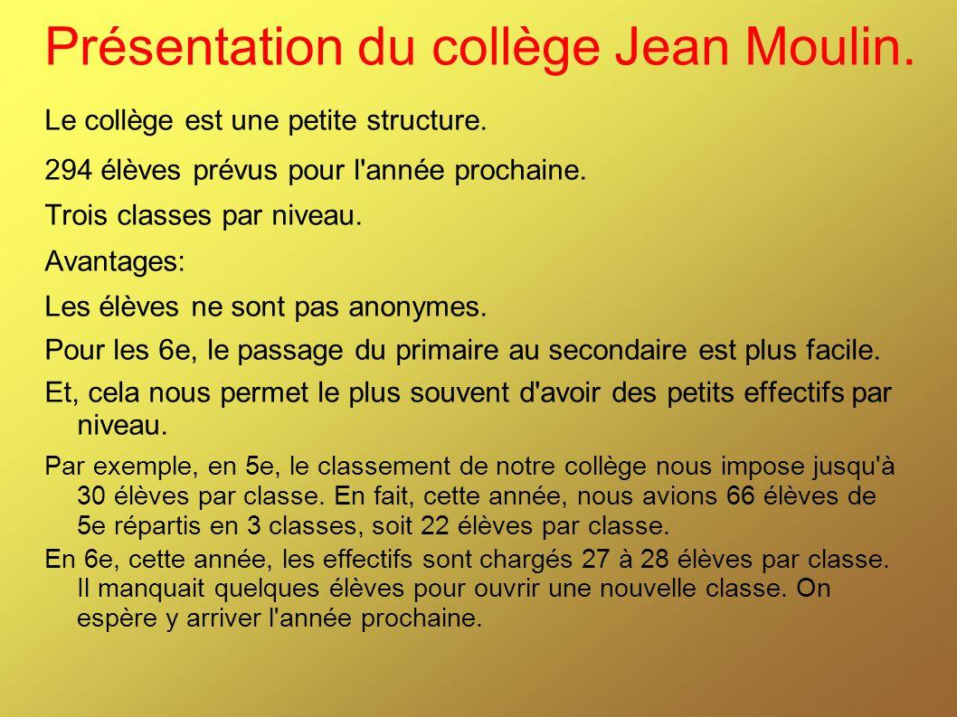 Présentation du collège Jean Moulin.