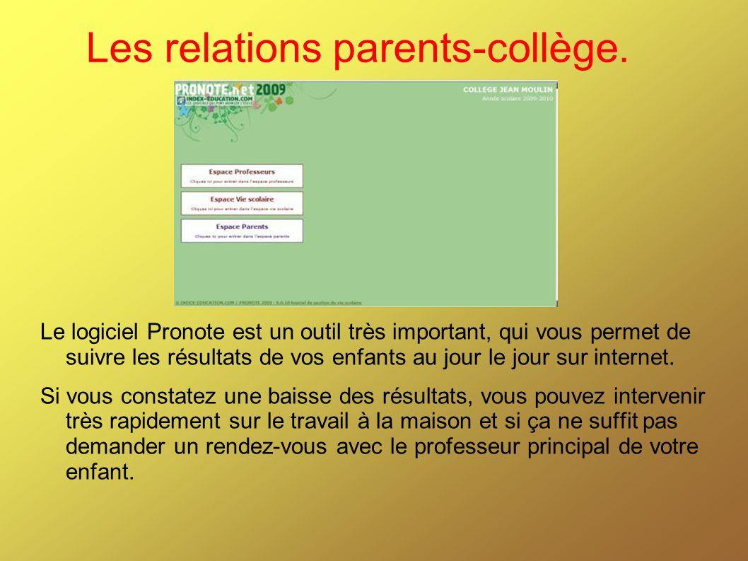 Les relations parents-collège.