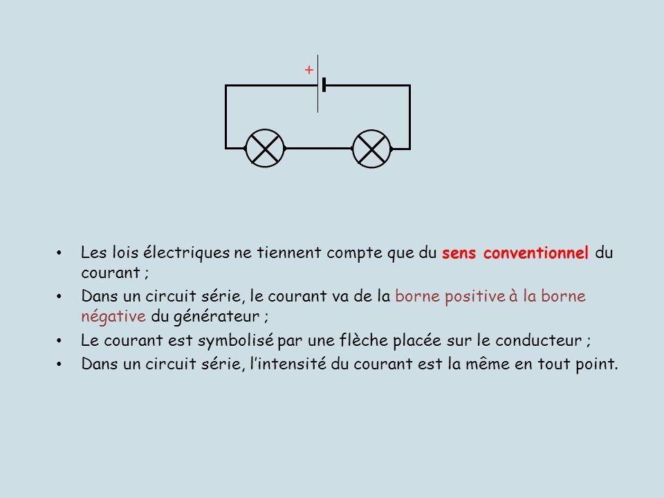 Les lois électriques ne tiennent compte que du sens conventionnel du courant ;