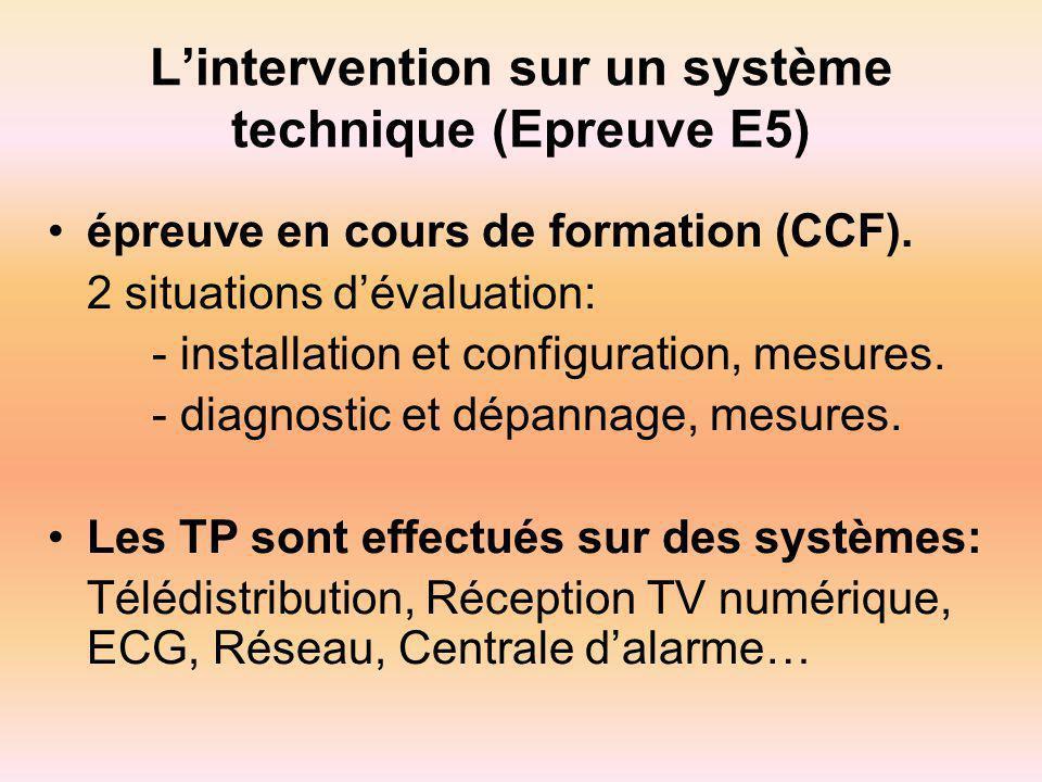 L'intervention sur un système technique (Epreuve E5)